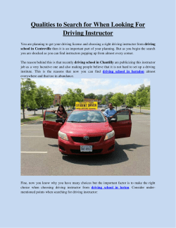 Qualities to Search for When Looking For Driving Instructor