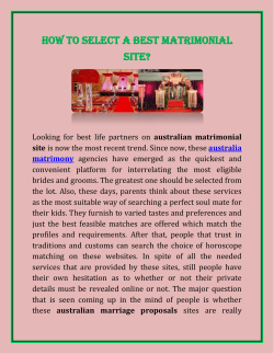 How To Select A Best Matrimonial Site