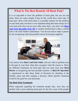 What Is The Best Remedy Of Back Pain