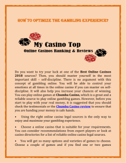 How to optimize the gambling experience