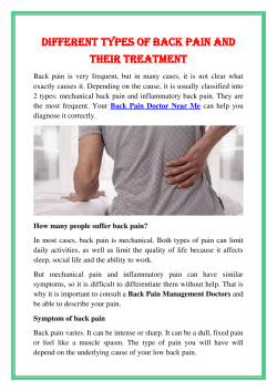 Different types of back pain and their treatment