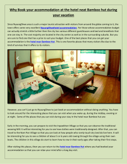 Why Book your accommodation at the hotel neat Bamboo hut during your vacation