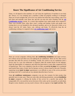 Know The Significance of Air Conditioning Service