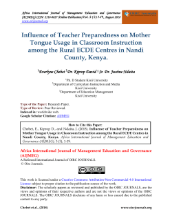Influence of Teacher Preparedness on Mother Tongue Usage in Classroom Instruction among the Rural ECDE Centres in Nandi County 1