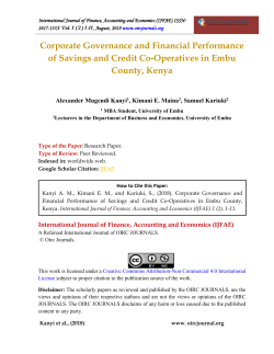 Corporate Governance and Financial Performance of Savings and Credit Co-Operatives in Embu County, Kenya