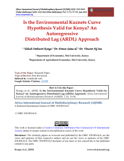 Is the Environmental Kuznets Curve Hypothesis Valid for Kenya An Autoregressive