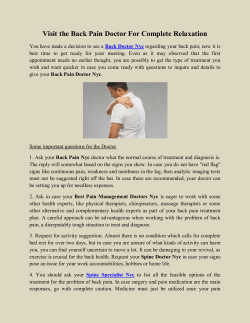 Visit the Back Pain Doctor For Complete Relaxation