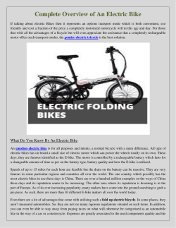 Complete Overview of An Electric Bike