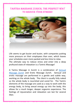 Tantra Massage - The perfect way to reduce stress