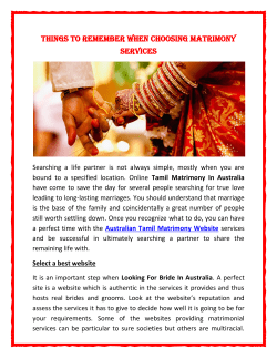 Things to Remember When Choosing Matrimony Services