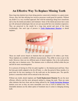 An Effective Way To Replace Missing Teeth