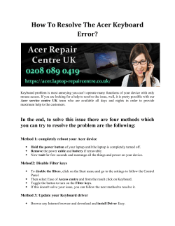 How to resolve the Acer Keyboard error