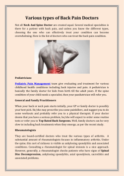 Various types of Back Pain Doctors