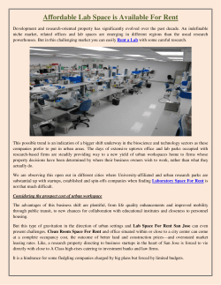 Affordable Lab Space is Available For Rent