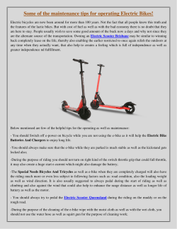 Some of the maintenance tips for operating Electric Bikes!