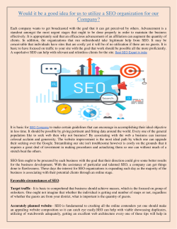 Would it be a good idea for us to utilize a SEO organization for our Company
