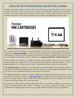 Choose The Best Printing Solutions with Best Ink Cartridges