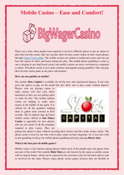 Mobile Casino – Ease and Comfort!