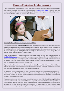 Choose A Professional Driving Instructor
