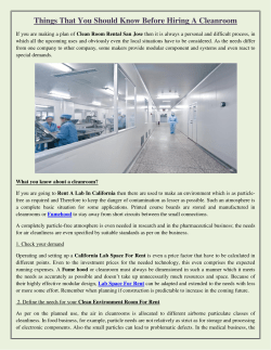 Things That You Should Know Before Hiring A Cleanroom