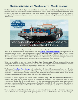 Marine engineering and Merchant navy – Way to go ahead!