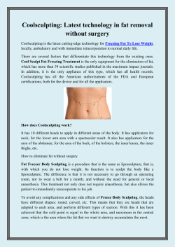 Coolsculpting Latest technology in fat removal without surgery