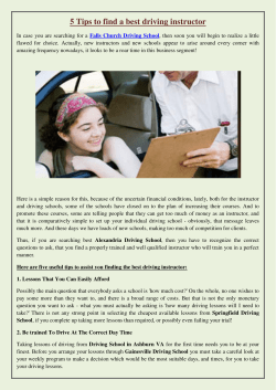 5 Tips to find a best driving instructor