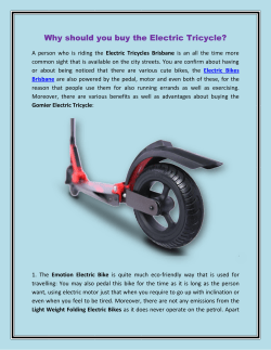 Why should you buy the Electric Tricycle