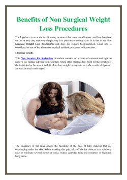 Benefits of Non Surgical Weight Loss Procedures