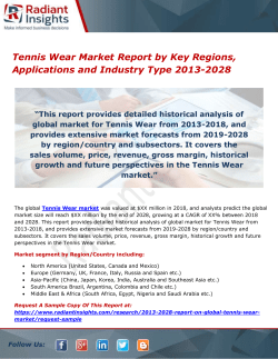Tennis Wear Market Report by Key Regions, Applications and Industry Type 2013-2028