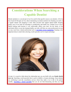 Considerations When Searching a Capable Dentist