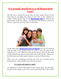 Is it actually beneficial to avail Registration Loan (2)