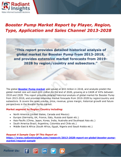 Booster Pump Market Report by Player, Region, Type, Application and Sales Channel 2013-2028