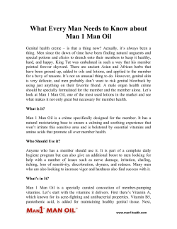 What Every Man Needs to Know about Man 1 Man Oil