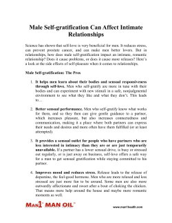Male Self-gratification Can Affect Intimate Relationships
