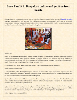 Book Pandit in Bangalore online and get free from hassle