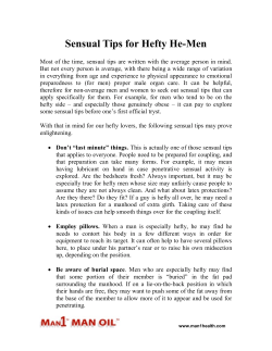 Sensual Tips for Hefty He-Men