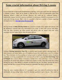 Some crucial information about Driving Lessons