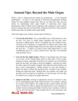 Sensual Tips - Beyond the Male Organ