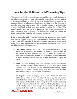 Home for the Holidays - Self-Pleasuring Tips