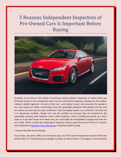 3 Reasons Independent Inspection of Pre-Owned Cars Is Important Before Buying